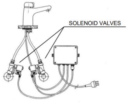 solenoid valves in electronic mixers; construction diagram